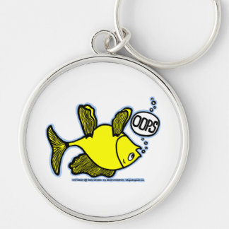 Up Side Down Fish! Silver-Colored Round Key Ring