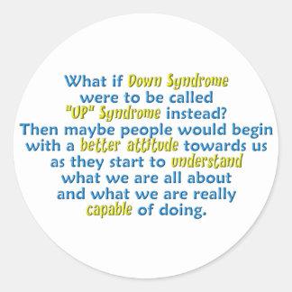 """UP"" Syndrome Round Sticker"