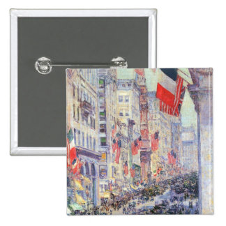 Up the Avenue from 34th Street by Childe Hassam 15 Cm Square Badge