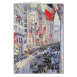 Up the Avenue from 34th Street, May 1917 by Hassam Greeting Cards