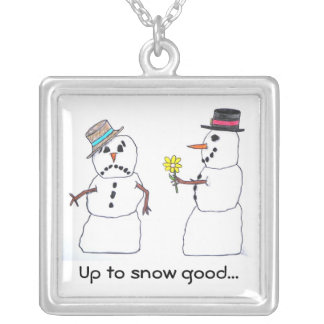 Up To Snow Good Square Pendant Necklace