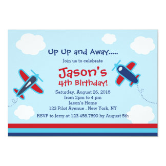 Up UP and Away Aeroplane Birthday Party 13 Cm X 18 Cm Invitation Card