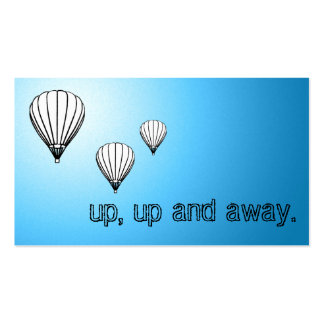 up, up and away. balloons. pack of standard business cards