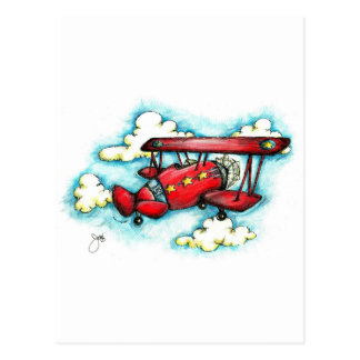 Up! Up! and Away - Retro Airplane With Clouds Postcard