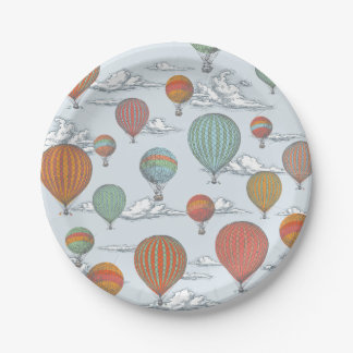 Up Up and Away Vintage Hot Air Balloon Paper Plate