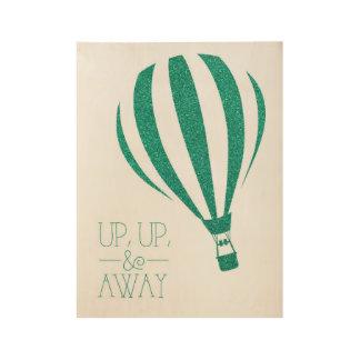 Up Up & Away Glitter Hot Air Balloon Art Wood Poster