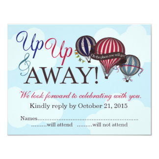 Up Up & Away Hot Air Balloon RSVP Card