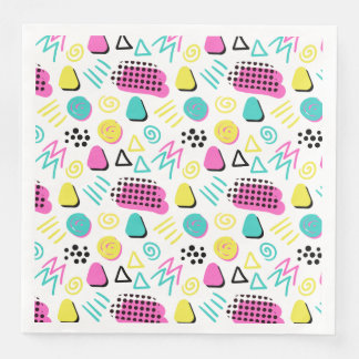 Upbeat Abstract in Turquoise Pink Yellow Disposable Napkin