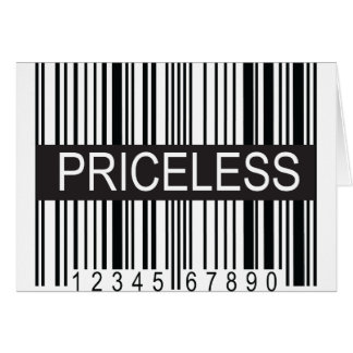 upc Code Priceless Greeting Card