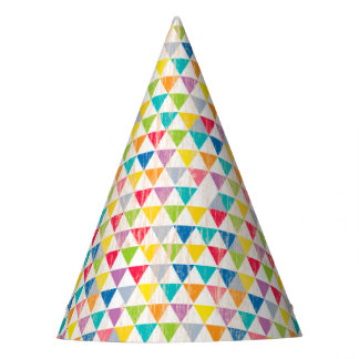 Upcycle Style Rustic Rainbow Triangles Pattern Party Hat