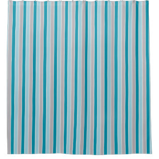 Updated Nautical stripes, blue gray white, beachy Shower Curtain
