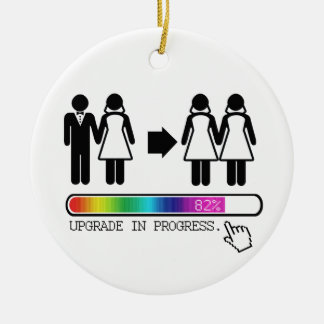 UPGRADE TO LESBIAN CHRISTMAS ORNAMENT