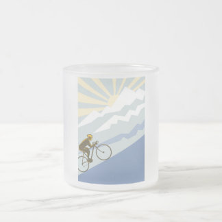 Uphill Cyclist Illustration Frosted Glass Coffee Mug