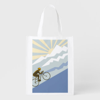 Uphill Cyclist Illustration Reusable Grocery Bag