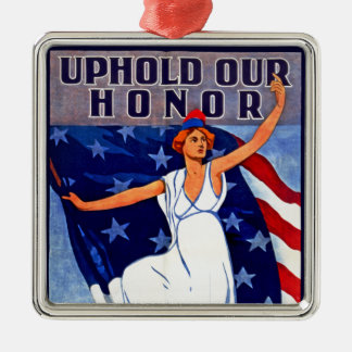 Uphold Our Honor Square Metal Christmas Ornament