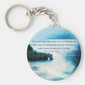 Uplifting Encouraging Bible Verse Jeremiah 29:11 Basic Round Button Key Ring