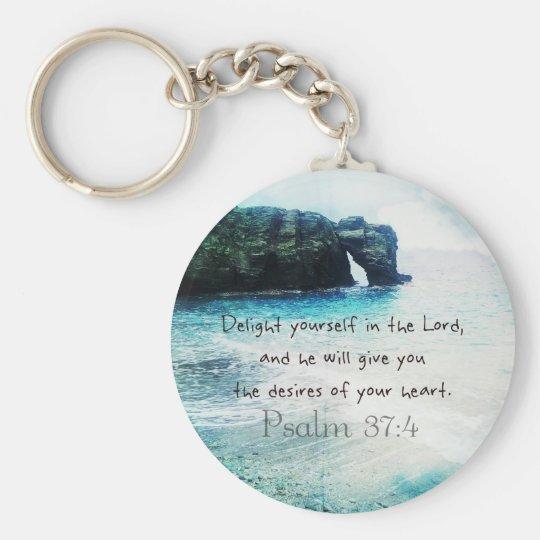 Uplifting Inspirational Bible Verse Psalm 37:4 Basic Round Button Key Ring