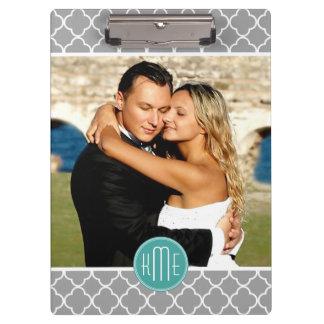 Upload Your Photo - Gray Quatrefoil Mint Monogram Clipboard