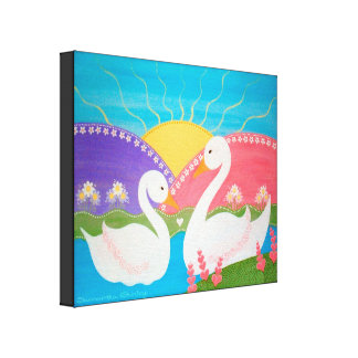 Upon Swan Lake - 16x20 Ugly Duckling Kids Wall Art Stretched Canvas Prints