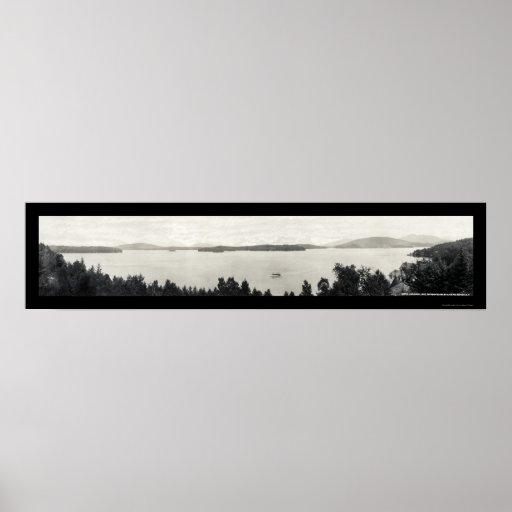Upper Saranac Lake Photo 1912 Poster