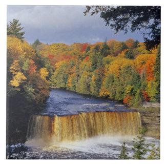 Upper Tahquamenon Falls in UP Michigan in autumn Tile