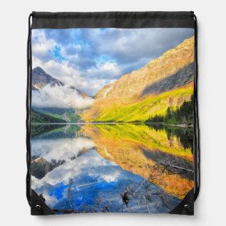 Upper Two Medicine Lake at Sunrise Drawstring Bag