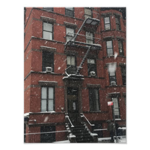 Upper West Side Brownstone Fire Escape NYC Snow Photo Print