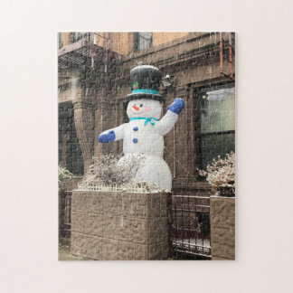 Upper West Side Snowman New York City NYC Snow Jigsaw Puzzle
