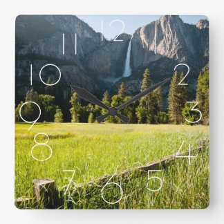 Upper Yosemite Falls Square Wall Clock
