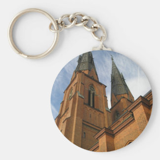 Uppsala Cathedral Sweden Basic Round Button Key Ring