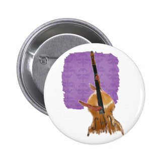 Upright acoustic bass with hands musician pinback button