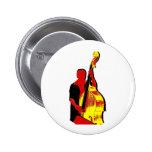 Upright Bass Player Image Design Red and Yellow Pin
