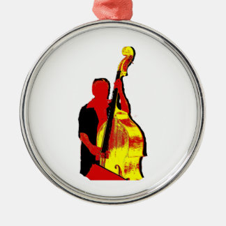 Upright Bass Player Image Design Red and Yellow Christmas Ornament
