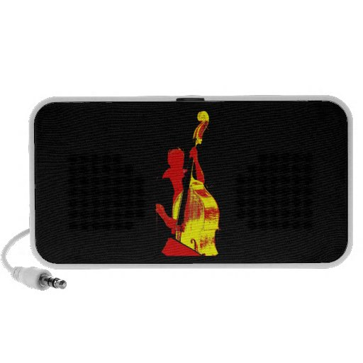 Upright Bass Player Image Design Red and Yellow Portable Speakers