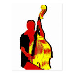 Upright Bass Player Image Design Red and Yellow Postcard