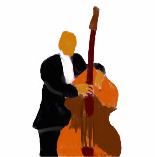 Upright bass player painting black suit standing photo sculpture