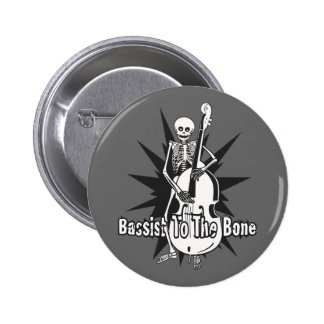 Upright Bass Playing Skeleton 6 Cm Round Badge