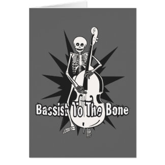 Upright Bass Playing Skeleton Card