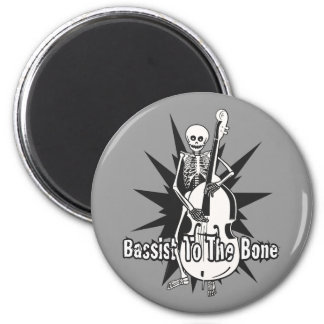 Upright Bass Playing Skeleton 6 Cm Round Magnet