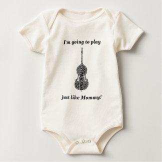 Upright Bass Shaped Word Art Black Text Baby Bodysuit