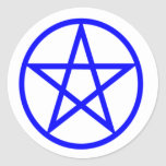 Upright Blue Pentagram Classic Round Sticker