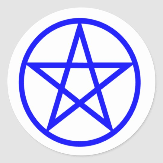 Upright Blue Pentagram Classic Round Sticker