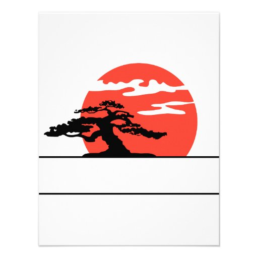 Upright bonsai against sun with box for text custom announcement