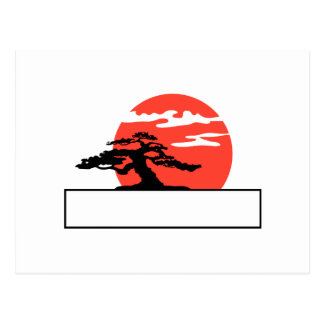 Upright bonsai against sun with box for text post cards