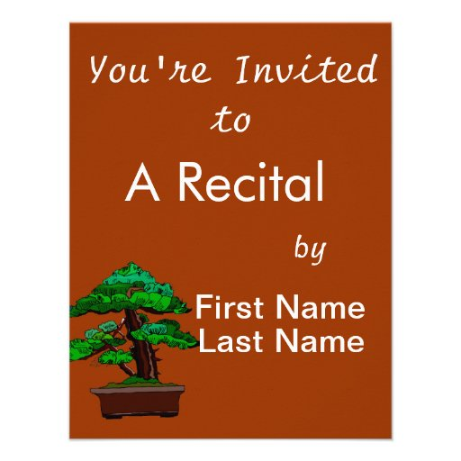 Upright Bonsai Old in Rectangle Brown Pot Personalized Invites