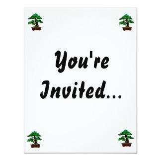 Upright Bonsai Old in Rectangle Brown Pot 4.25x5.5 Paper Invitation Card
