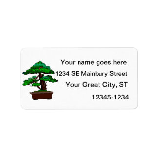 Upright Bonsai Old in Rectangle Brown Pot Address Label
