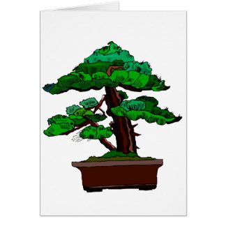 Upright Bonsai Old in Rectangle Brown Pot Note Card