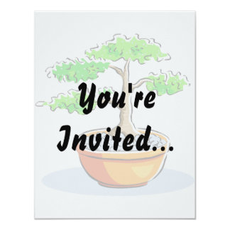 Upright Bonsai Orange Bowl Graphic Image Personalized Invitation