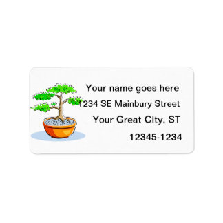 Upright Bonsai Orange Bowl Graphic Image Address Label
